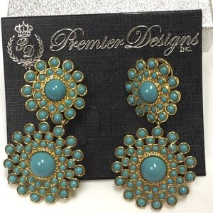 "Premier Designs ""Dahlia"" turquoise/gold earrings"